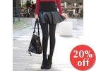 Inset Faux-Leather Skirt Leggings