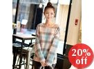 Round Neck Check Knit Top