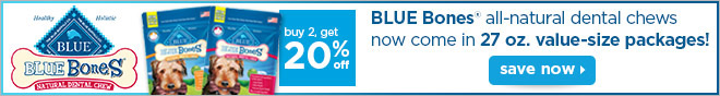 Buy 2, get 20% off BLUE Bones dental chews