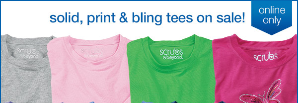 Solid, print and bling tees on sale!