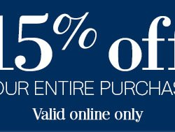 15% off your entire purchase* - Valid online only