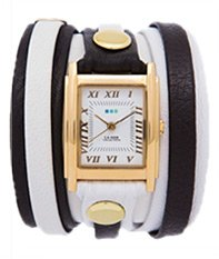 White Black Gold Mixed Layer Wrap Watch