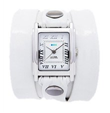 White Patent Wrap Watch