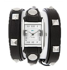 Black Silver Pyramid Wrap Watch