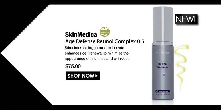 Paraben-Free SkinMedica Age Defense Retinol Complex  Stimulates collagen production and enhances cell renewal to minimize the appearance of fine lines and wrinkles. $75.00 Shop Now>>