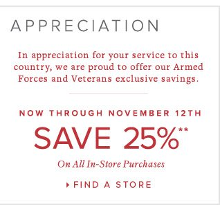 SAVE 25% ON ALL IN-STORE PURCHASES