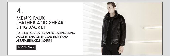 4. MEN'S FAUX LEATHER AND SHEARLING JACKET