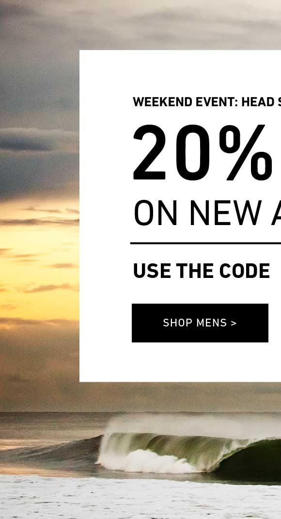 Head Start Holiday Event: Men's 20% Off New Arrivals. Enter Code: STACHEATTACK