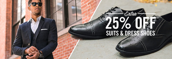 Shop Extra 25% Off Suits & Dress Shoes