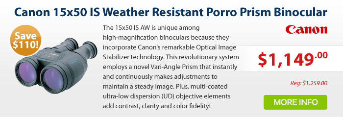 Adorama - Canon 15x50 IS, Weather Resistant Porro Prism Image Stabilized Binocular