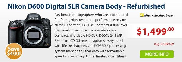 Adorama - Nikon D600 Digital SLR Camera Body 24.3 Megapixel, FX Format - Refurbished by Nikon U.S.A.