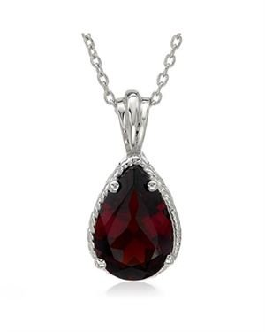 Sterling Silver Necklace with 3.00 CTW Garnet