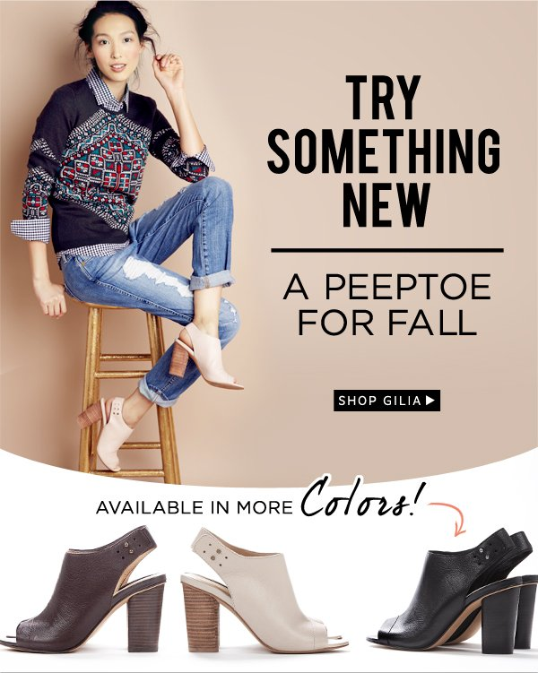 Try something new - a peep-toe for fall. Shop Gilia