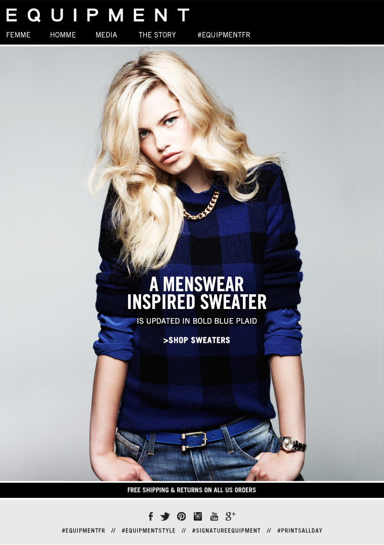 A MENSWEAR INSPIRED SWEATER IS UPDATED IN BOLD BLUE PLAID >SHOP SWEATERS