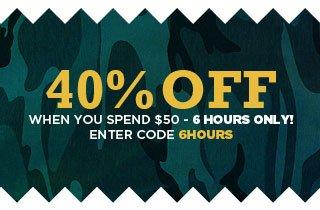 Spend $50, Get 40% Off