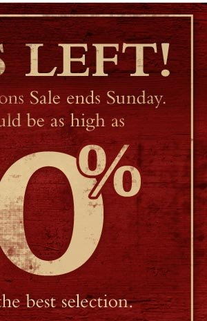 Our Further Reductions Sale ends Sunday. Your savings could be as high as 80%, so don't miss it!