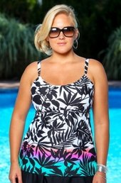 Women's Plus Size Swimwear - Coco Reef Separates Sunset Harbor Peasant Cup Size Tankini Top - NO RETURNS