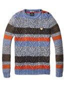 striped colour block crew neck pull