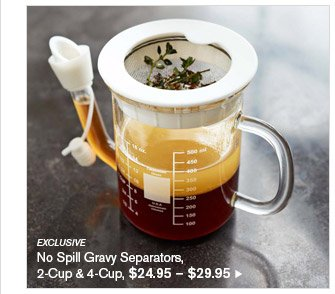 EXCLUSIVE - No Spill Gravy Separators, 2-Cup & 4-Cup, $24.95 - $29.95