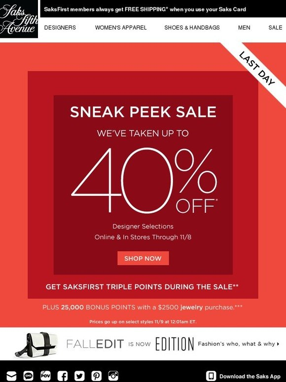 The SaksFirst store card is specially offered to loyal members of the Saks Fifth Avenue retail chain and comes with a generous rewards program. New members can enjoy 10% off everything they buy on their first day as a SaksFirst member and earn up to 12 rewards points every time they shop at Saks Fifth [ ].