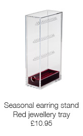 Seasonal earring stand with red jewellery tray