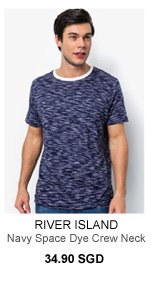 Navy Space Dye Crew Neck T- Shirt