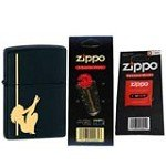 Zippo 24892 Classic Pole Girl Dancer Black Matte Windproof Lighter with One Flint Card and One Wick Card
