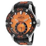 Invicta 12704 Men's Russian Diver Orange Accent Bezel Orange Dial Rubber Strap Dive Watch
