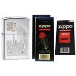 Zippo 6357 New York City Statue Of Liberty High Polish Chrome Finish Lighter with Two Flint Card and One Wick Card