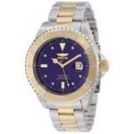 Invicta 12818 Men's Pro Diver Diamond Accented Bezel Blue Dial Two Tone Gold Plated Steel Bracelet Dive Watch