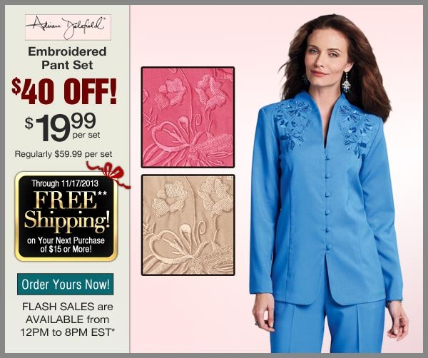 $40 OFF Embroidered Pant Set
