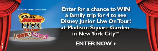 Enter for a chance to WIN a family trip for 4 to see Disney Junior Live On Tour! at Madison Square Garden in New York City! ENTER NOW