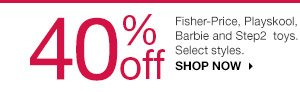 40% off Fisher-Price, Playskool, Barbie and Step2 toys. Select styles. Shop now.