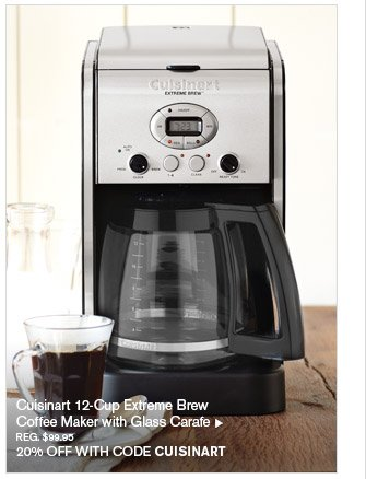 Cuisinart 12-Cup Extreme Brew Coffee Maker with Glass Carafe, REG. $99.95 -- 20% OFF WITH CODE CUISINART