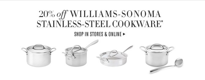 20% off WILLIAMS-SONOMA STAINLESS-STEEL COOKWARE* -- SHOP IN STORES & ONLINE