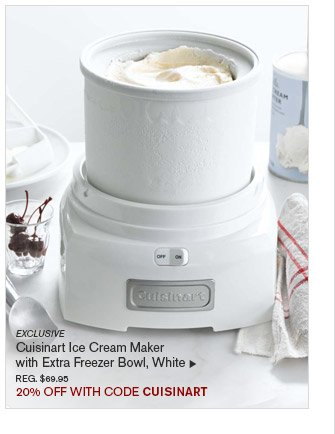 EXCLUSIVE -- Cuisinart Ice Cream Maker with Extra Freezer Bowl, White, REG. $69.95 -- 20% OFF WITH CODE CUISINART