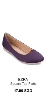 EZRA Square Toe Flats Angular Front Detail