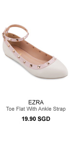 EZRA Studded Pointed Toe Flat With Ankle Strap