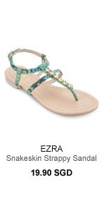 EZRA Snakeskin Strappy Sandal With Embellishment