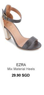 EZRA Mix Material Heels With Ankle Strap