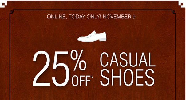 25% off Selected Casual Shoes