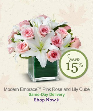 Modern Embrace™ Pink Rose and Lily Cube