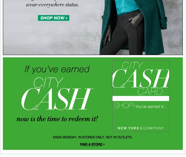 Redeem City Cash in stores now!