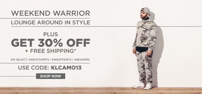 Weekend Warrior: Lounge Around in Style - 30% Off + Free Ship on Select Sweatshirts, Sweatpants, Sneakers and More!