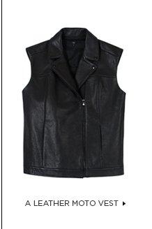 A Leather Moto Vest >
