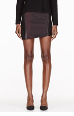 HELMUT LANG Black & burgundy leather-paneled Jacquard Crash Mini Skirt for women