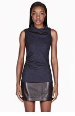 HELMUT LANG Deep navy Wool two-Drape Sonar Top for women