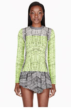 KENZO White & Chartreuse jacquard sweater for women