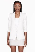 HELMUT HELMUT LANG Off-white Prime Suiting Scrunched Sleeve Blazer for women