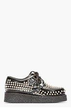 UNDERGROUND Black Studded Leather Wulfrun Creepers for women